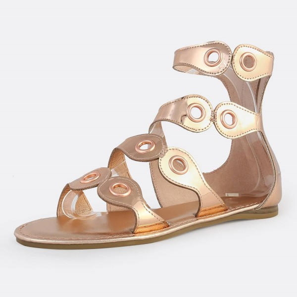 Rose Gold Gladiator Sandals Open Toe Metallic Grommet Band Sandals image 1