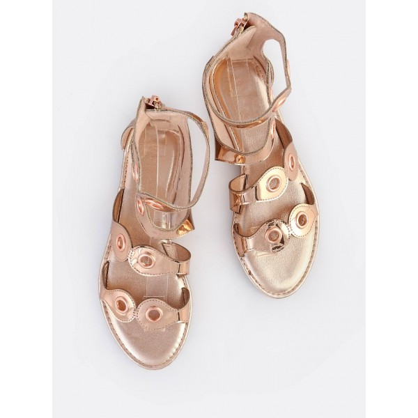 Rose Gold Gladiator Sandals Open Toe Metallic Grommet Band Sandals image 2