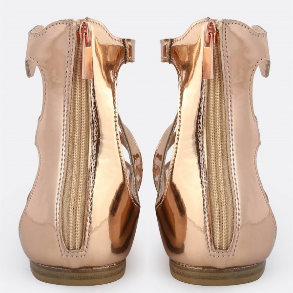 Rose Gold Gladiator Sandals Open Toe Metallic Grommet Band Sandals image 3