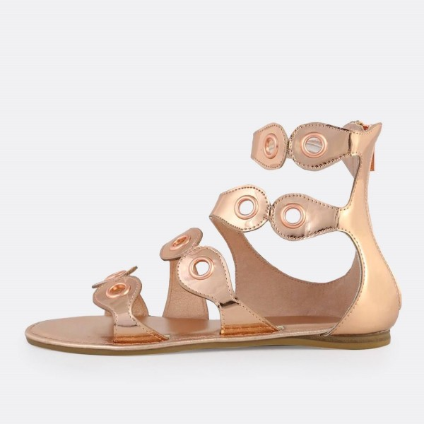Rose Gold Gladiator Sandals Open Toe Metallic Grommet Band Sandals image 4