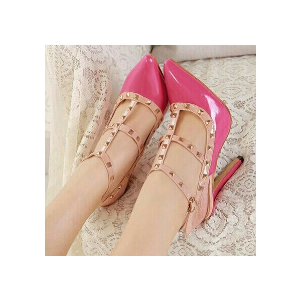 Hot Pink T Strap Heels Pointy Toe Stiletto Heels Pumps with Rivets image 1