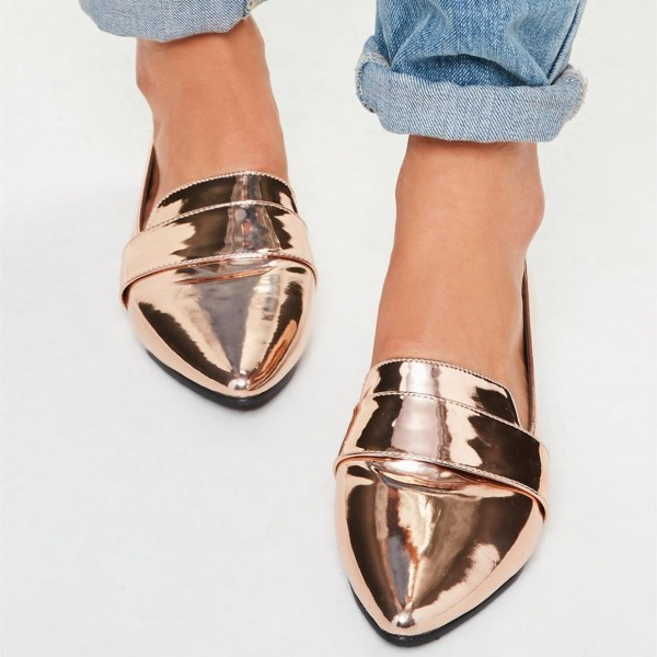 Rose Gold Mirror Leather Loafers for Women Almond Toe Flats image 1