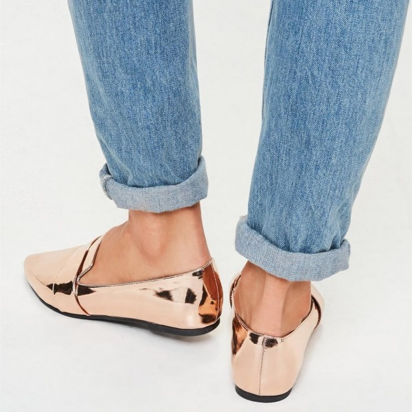Rose Gold Mirror Leather Loafers for Women Almond Toe Flats image 3