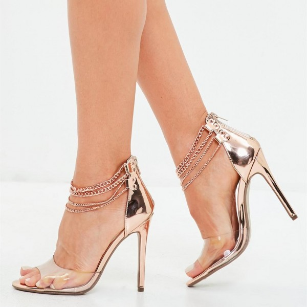 Rose Gold Chains Clear Heels Sandals