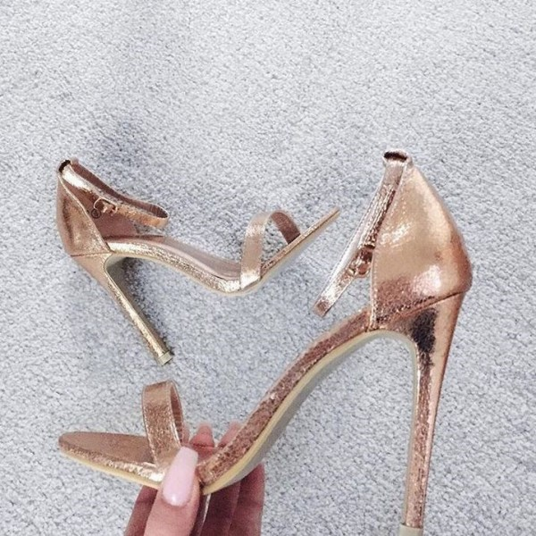 Women's Golden Ankle Strap Sandals Open Toe Stiletto Heels image 1