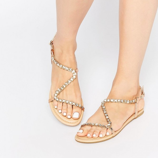 b86ea9000547 Rose Gold Open Toe Flats Rhinestones Wedding Sandals Jeweled Sandals image  1 ...