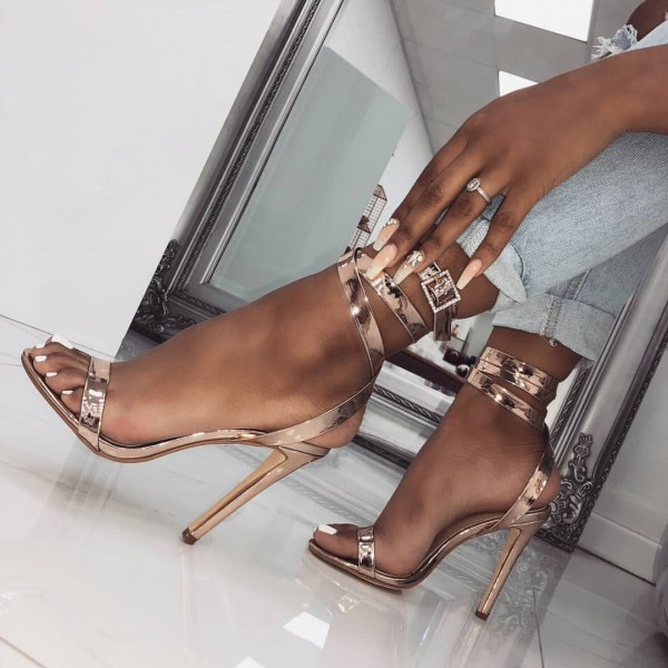 Rose Gold Open Toe Strappy Sandals Stiletto Heel Slingback Sandals image 1