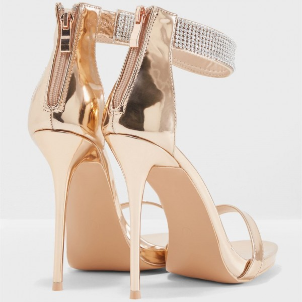 Gold Rhinestone Stiletto Heels Open Toe Sandals Prom Shoes image 3