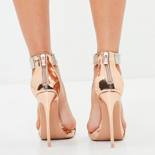 Gold Rhinestone Stiletto Heels Open Toe Sandals Prom Shoes image 4