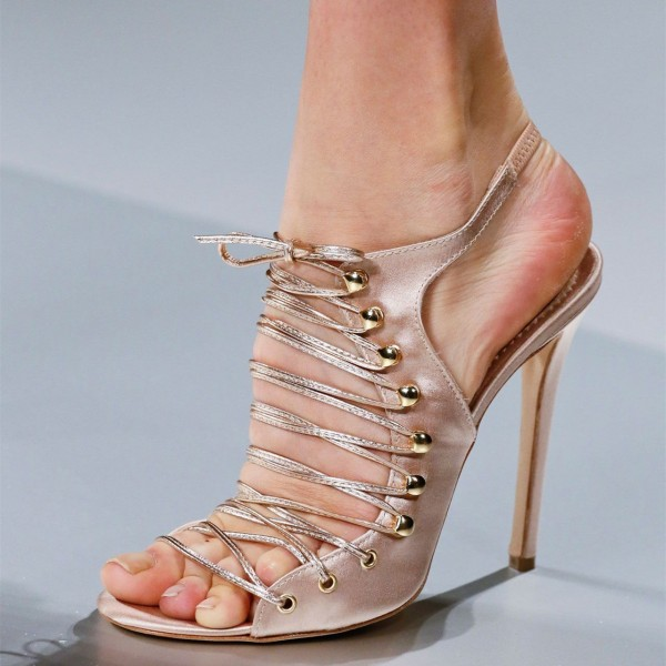 Women's Satin Rose Gold Heels Lace up