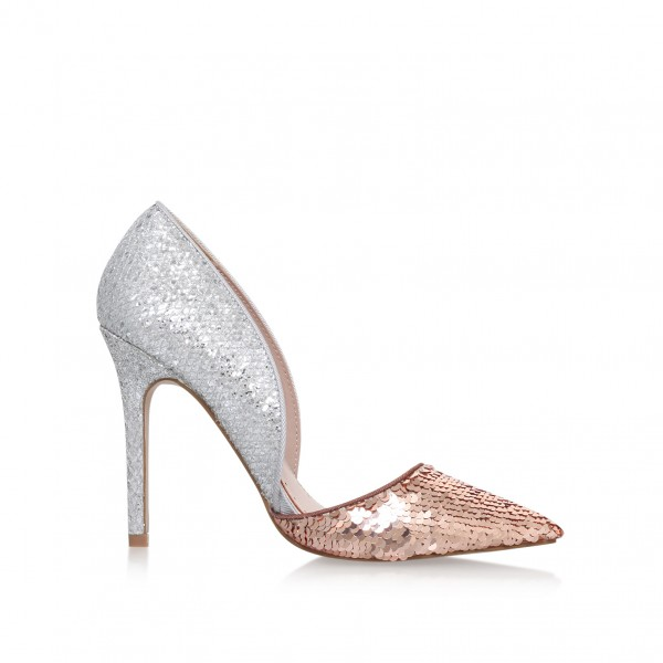 Champagne and Silver Sequined Sparkly Heels Pointy Toe Pumps image 4
