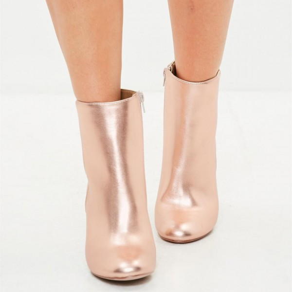Rose Gold Sparkly Ankle Booties Round Toe Block Heels Boots image 3