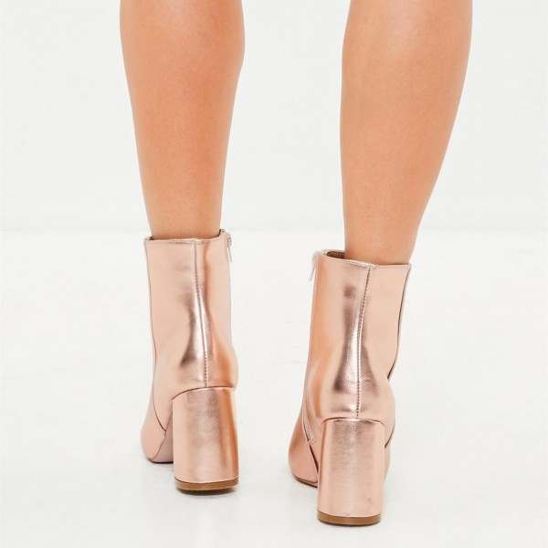 Rose Gold Sparkly Ankle Booties Round Toe Block Heels Boots image 2