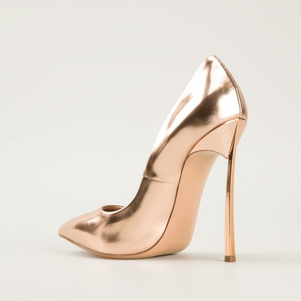 Women's Champagne Stiletto Heels Pointed Toe Pumps image 2
