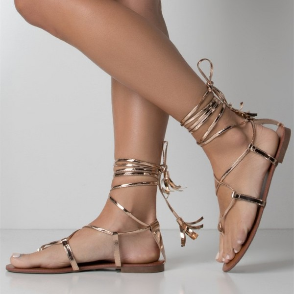 Gold Strappy Flat Gladiator Sandals for