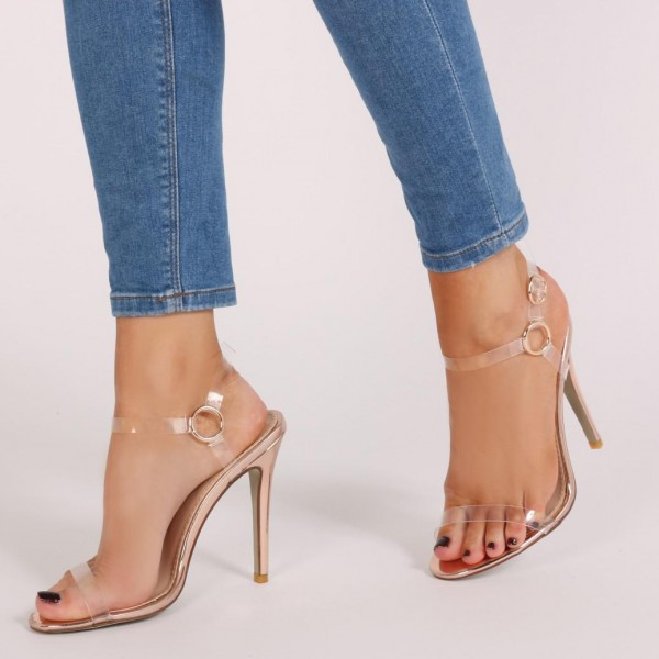 Rose Gold Clear Strap Heels PVC
