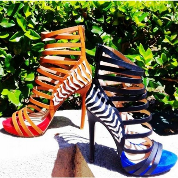 Royal Blue and Black Vegan Shoes Open Toe Platform Stiletto Heels image 3