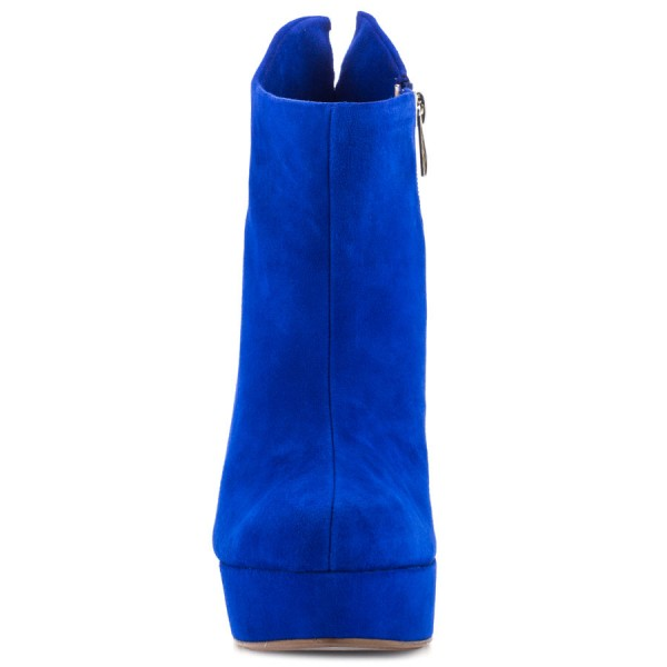 Royal Blue Stiletto Boots Suede Platform High Heel Shoes image 2
