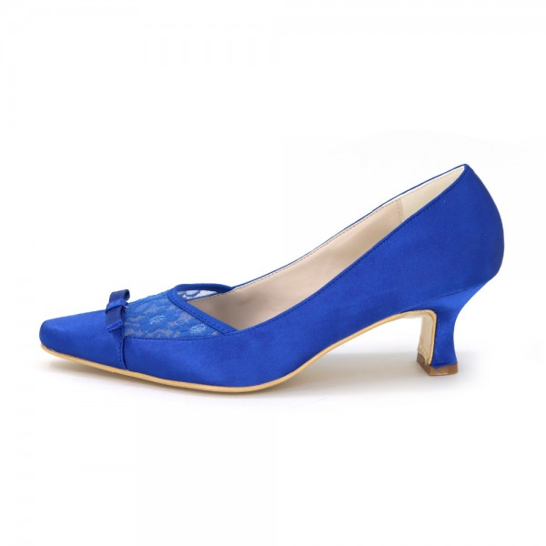 Royal Blue Bow Heels Satin Square Toe Spool Heels Pumps image 4