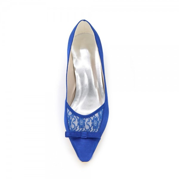 Royal Blue Bow Heels Satin Square Toe Spool Heels Pumps image 3