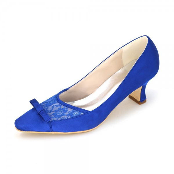 Royal Blue Bow Heels Satin Square Toe Spool Heels Pumps image 1