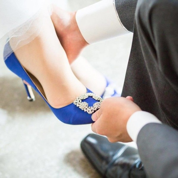 Blue Bridal Heels Satin Rhinestone Wedding Pumps image 3