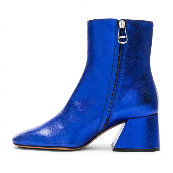 7212951a67b ... Royal Blue Crack Grain Block Heels Pointy Toe Ankle Booties image 2 ...