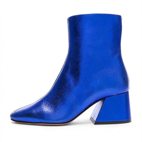 f746b83a262 ... Royal Blue Crack Grain Block Heels Pointy Toe Ankle Booties image 3 ...