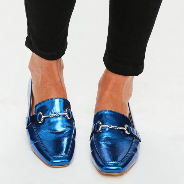 Royal Blue Flats Mirror Leather Square Toe Loafers for Women image 3