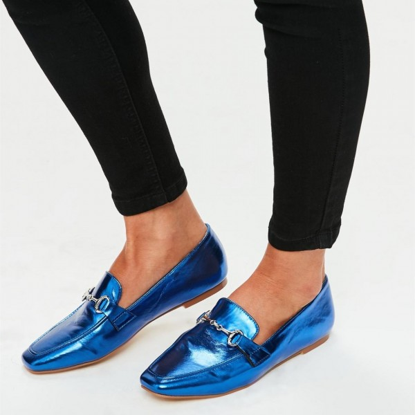 Royal Blue Flats Mirror Leather Square Toe Loafers for Women image 1