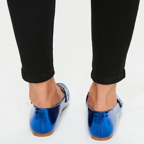 Royal Blue Flats Mirror Leather Square Toe Loafers for Women image 2