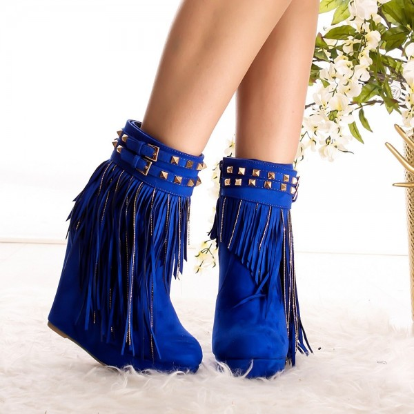 Fashion Royal Blue Fringe Boots Suede Wedge Heel Ankle Boots for Women image 2