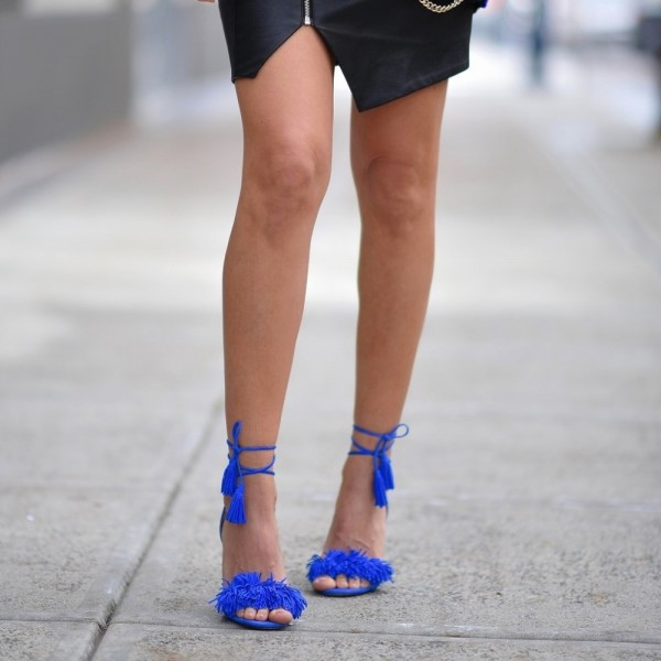 Royal Blue Heels Fringe Sandals Tassels Strappy Stiletto Heels  image 1