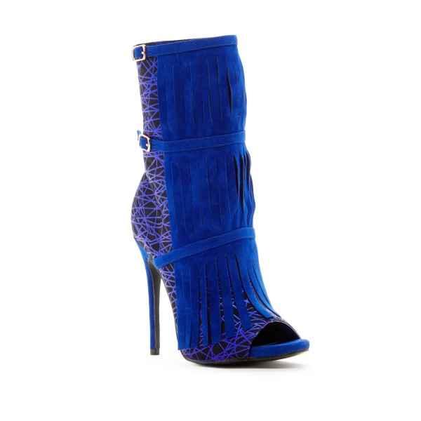 Royal Blue Heels Fringe Lace Open Toe Ankle Summer Boots image 3