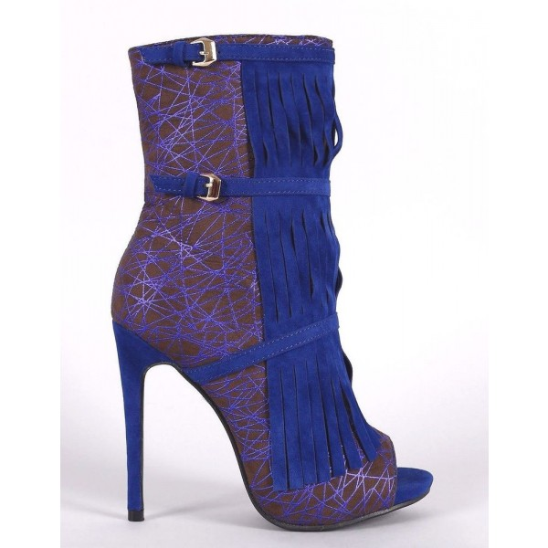 Royal Blue Heels Fringe Lace Open Toe Ankle Summer Boots image 2