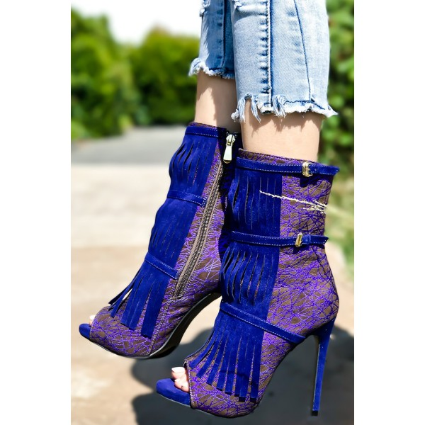 Royal Blue Heels Fringe Lace Open Toe Ankle Summer Boots image 4
