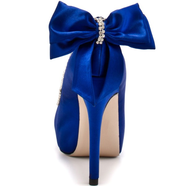 Royal Blue Wedding Heels Satin Bow Rhinestone Stiletto Heels Pumps image 5