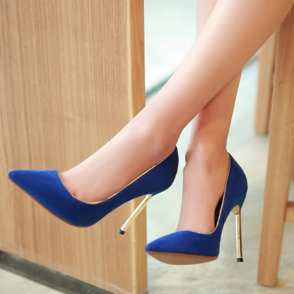 Royal Blue Heels Pointy Toe Suede Pumps Stiletto Heels image 1