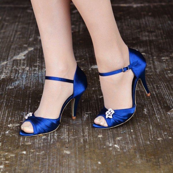 Royal Blue Heels Satin Peep Toe Stiletto Heels Wedding Sandals image 1