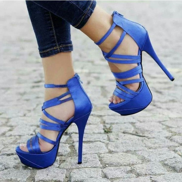 Royal Blue Heels Strappy Stilettos Platform Sandals  image 1