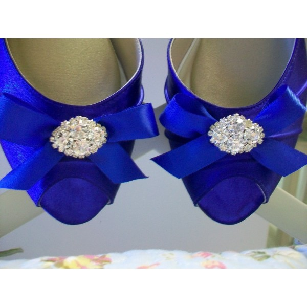 Royal Blue Satin Low Heel Wedding Shoes Peep Toe Bow D'orsay Pumps  image 3