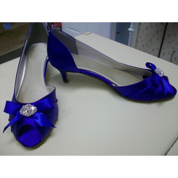 Royal Blue Satin Low Heel Wedding Shoes Peep Toe Bow D'orsay Pumps  image 2