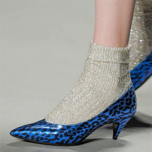 Royal Blue Leopard Print Heels Pointy Toe Cone Heel Pumps image 1