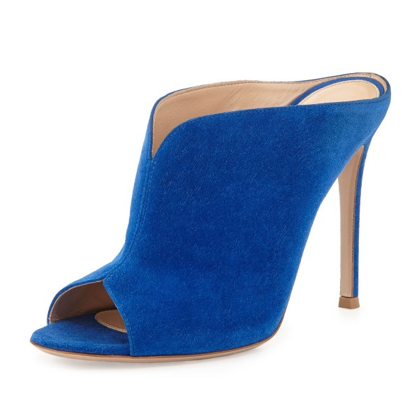 Cobalt Blue Shoes Peep Toe Suede Stiletto Heel Mules for Office Ladies image 3