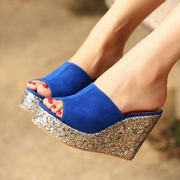 Royal Blue Peep Toe Platform Mule Glitter Wedge Sandals image 1