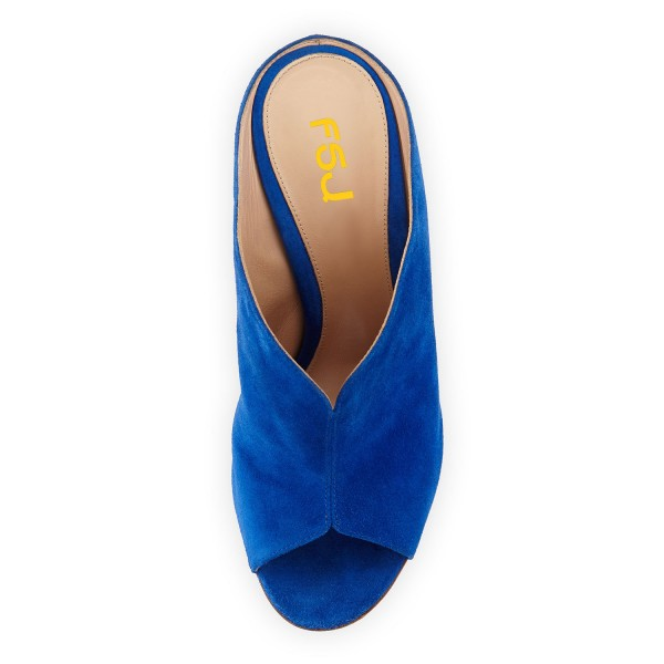 Cobalt Blue Shoes Peep Toe Suede Stiletto Heel Mules for Office Ladies image 4