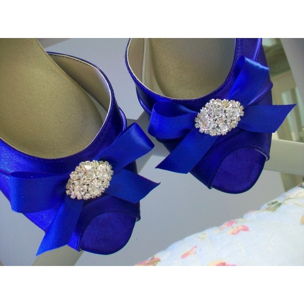 Royal Blue Satin Low Heel Wedding Shoes Peep Toe Bow D'orsay Pumps  image 4