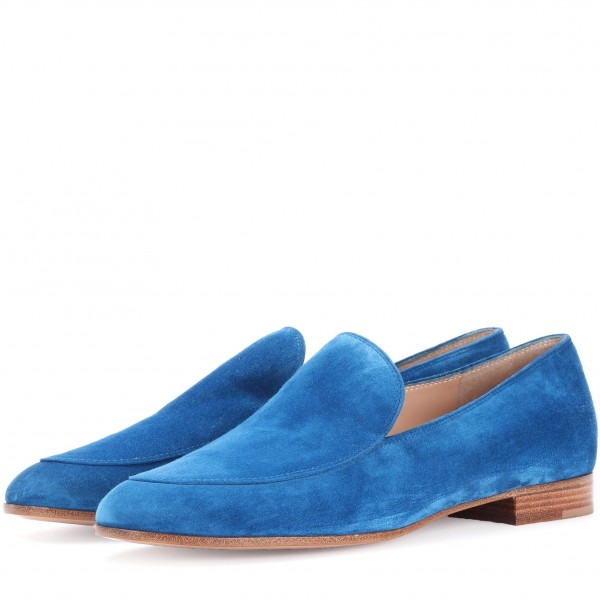 Royal Blue Round Toe Suede Loafers for Women Comfortable Flats image 1