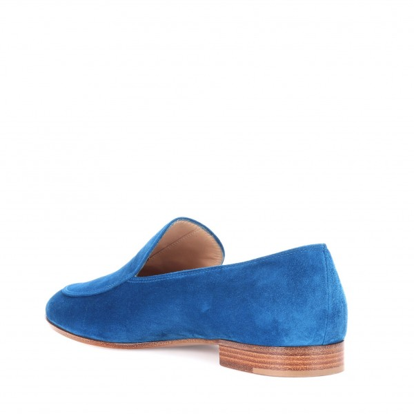 Royal Blue Round Toe Suede Loafers for Women Comfortable Flats image 2