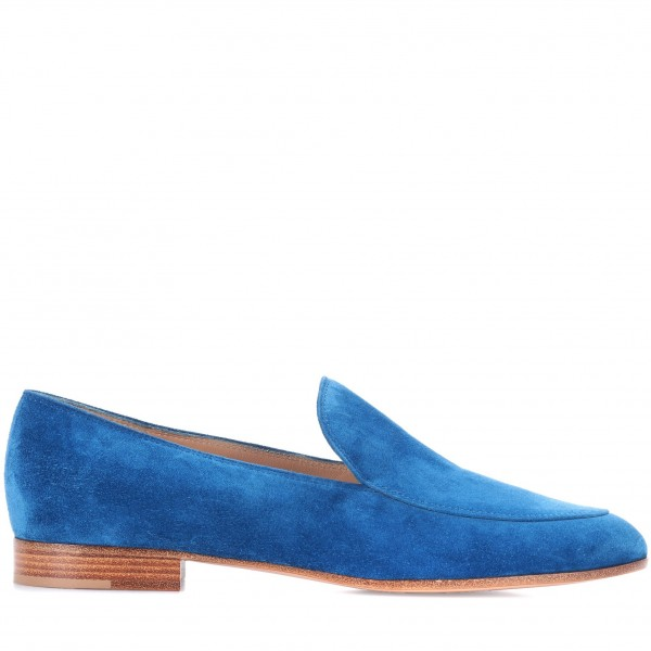 Royal Blue Round Toe Suede Loafers for Women Comfortable Flats image 3